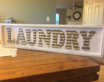 Laundry Sign - Solid Wood with Stamped Metal Lettering