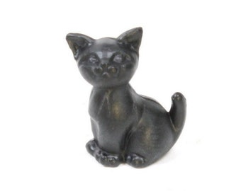 Sitting Kittens/Miniature Animals/Miniature Creatures/Mini Cats - Black - Set of 6 - 203-3-212-BK - Dollhouse miniatures/Modelling tools