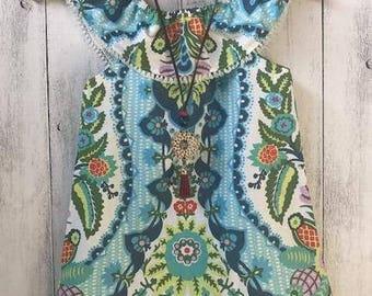 "Boho ""Free Spirit"" dress - Blue and White design with white tassel lace trim, sizes 1 to 6"