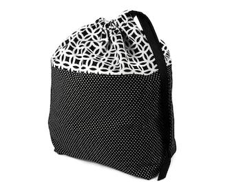 Crochet Project Bag, Knitting Project Bag, Best Knitting Bag, Crochet Project Bag, Project Bag, Black White Bag, Knitting Bag