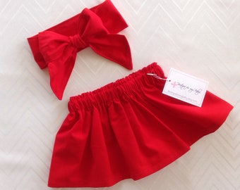 Red skirt, Baby Skirt, Toddler Skirt, Baby Girl Outfit, Skirt, Bow Headwrap, Baby Headwrap, Hair Bow, Big Bow, Skirt Set, Red Headwrap