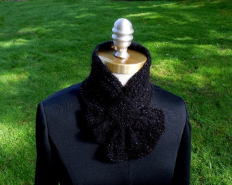Sparkly Black Scarflette with Leafy Frill