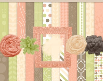 Digital Scrapbook Kit Pink and Brown and Green Digital Paper and Clip Art