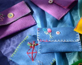 Wool Felt Treasure Pouches- Waldorf Toy- Party Favor- Stocking Stuffer- Customizable
