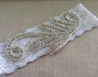 Rhinestone Wedding Garter,Leaf Bridal Garter, Crystal and Rhinestone Garter,Big Garter