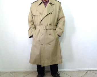 Vintage Trench Coat Misty Harbor Double Breasted Raincoat Warm Removable Plush Lining Men 44 Long Large