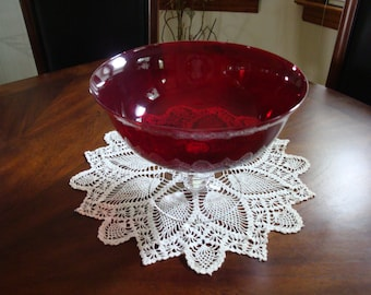 Partylite Large Ruby Red Compote with Clear Crystal Foot!