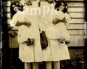 Les petites filles photo VINTAGE antique Dolls téléchargement numérique feuille de collage Antique photo jumeaux belle victorienne petite filles Art Print