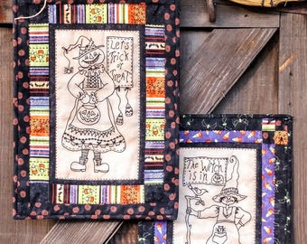 Bird Brain Designs A Pair of Wicked Witches Embroidery Stitchery Quilt Pattern BBD 1065 Halloween Table Topper Wall Hanging