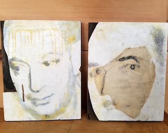 Encaustic Paintings/ Portraits/ Artwork/Diptych