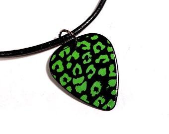 SALE - Leopard Print Plastic Guitar Pick Necklace or Pendant, black and green