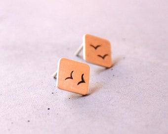Bird Earstud, Sterling Silver Square Earstuds, Minimalist silver earstuds, Birds