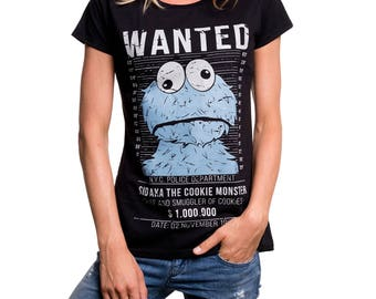Funny Womens Top Cookie Smuggler Monster Tee Shirt Summer Short Sleeve black S/M/L