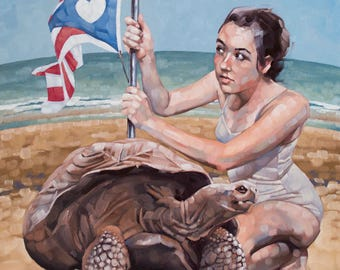 """Fine Art Oil Painting, Original Contemporary Art, Surreal, Figurative Painting with Giant Tortoise and Flag, Unique Decor - """"Reclamation"""""""
