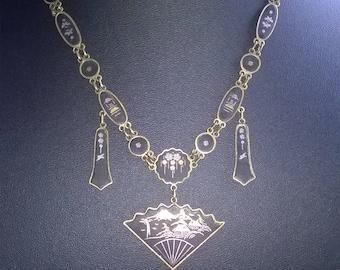 1920's japanese damascene fan drop necklace k24
