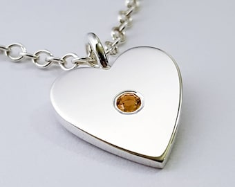 Citrine Heart Necklace Pendant in Sterling Silver - Sterling Silver Heart Necklace, Sterling Silver Heart Pendant, Citrine Necklace