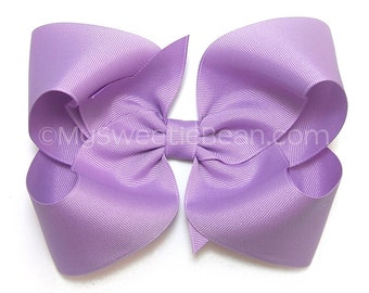Orchid Purple Hair Bow,  6 inch Grosgrain Bow for Women, Extra Large Bow for Girls, Light Purple, Dark Orchid Boutique Bow for Toddlers