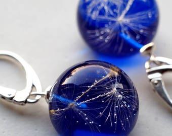 Earrings Resin, Clear Earrings With Dandelion, Nature Jewelry, Flower Jewelry, Silver,  Botanical Jewelry.