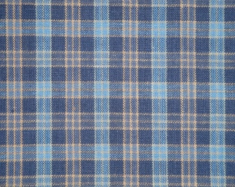 Homespun Fabric | Cotton Fabric | Home Decor Fabric | Rag Quilt Fabric | Small Plaid Fabric | Navy, Blue and Khaki Fabric