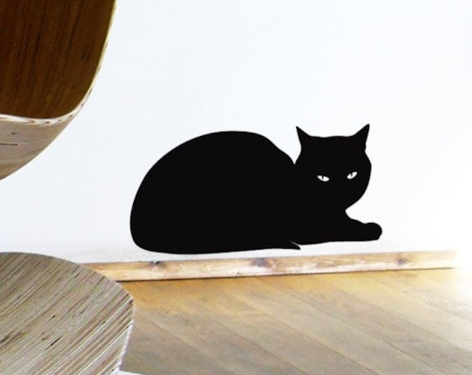 Black Cat Wall Sticker - Relaxing Sphinx Cat Decal