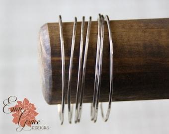 Sterling Silver Bangle Bracelet, Individual Bangle, Hammered Thin Silver Bracelets