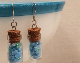 Upcycled Boho Drop Earrings - Eco Friendly Earrings - Miniature Glass Bottles - Blue