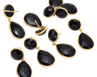 5 Pairs Wholesale Black Onyx Earring Supplies, Wholesale Rose Cut Jewelry, Bezel Connectors, Gemstone Connectors SKU-CC163
