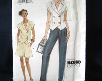 Very Easy Vogue 7576 Sewing Pattern Double Breasted Top Shorts High Waist Pants KOKO BEALL Designer Size 8 10 12 Uncut