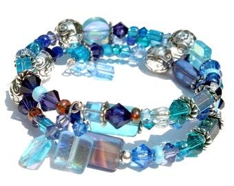 Blue and Silver Memory Wire Bracelet, Swarovski Cuff Jewelry, Chunky Bracelet, Blue Glass and Swarovski