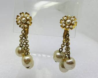 Miriam Haskell  Signed Pearl Baroque seeded Russian gold Gilt  Clip earrings Art Deco Dangle Wedding Floral Drop