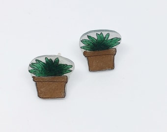 Cactus Earrings Pierced Ears Succulent Cactus Potted Plant Lady Botanical Terrarium Terracotta Affordable Gift for Nature Lover Gardener