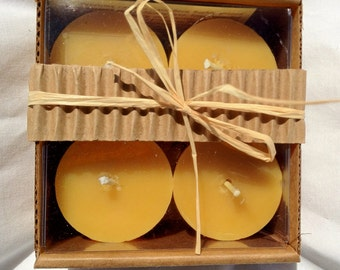 100% Pure Beeswax Votives Candles-set of 4