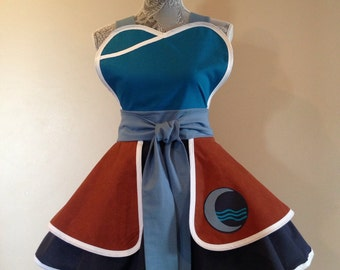Water Apron -  costume apron - retro apron - cosplay costume - Korra