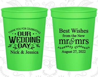 Wedding Stadium Cups, Wedding Cups, Plastic Cups, Stadium Cups, Personalized Cups, Custom Wedding Cups, Plastic Wedding Cups (C550)