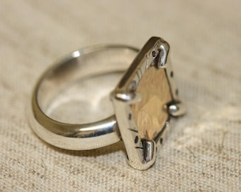 Gold Ring,Silver Ring,Sterling silver Ring, Silver and Gold Ring, Gold Rings, Handmade Ring, Silver Frame,Solitaire Ring,