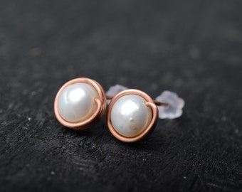 pearl stud earrings copper stud minimalist earrings pearl earrings copper earrings every day earrings modern earrings simple stud earring