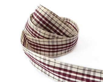 Burgundy and beige wide Plaid satin ribbon 25 mm