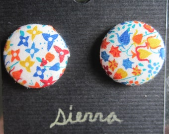 Button Earrings Liberty of London Tana Lawn Cotton Eve A vintage floral red white blue orange yellow tiny flowers