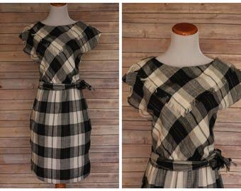 1950s black and white plaid Dress, 1950s Plaid Dress, 1950s Cowgirl Dress, 1950s Western dress, 1950s Country Dress, 1950s flannel dress