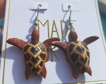 Vintage Ethnic, Coconut wood decorative sea turtle earrings. Unique find