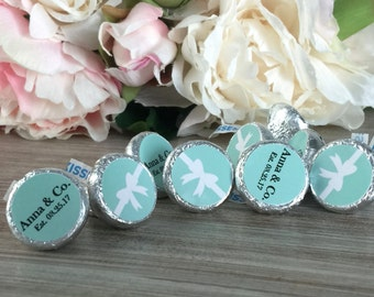 Hershey kiss stickers, Turquoise baby shower favor labels, hershey kisses labels, Bridal shower envelope seals, Bridal shower favor label