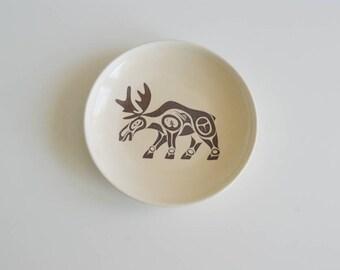 Fathers Day Gift Haida Moose, Ring Holder, Wedding Ceremony, Engagement,  Handmade Dish, Ceramic Dish,  Ring Dish with Haida Moose