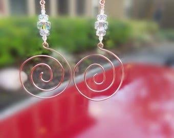 Copper Swarovski Crystal Spiral Earrings