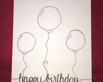 Birthday Card Postcard Balloons