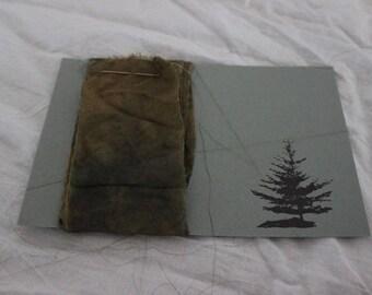 "hand dyed indigo and myrobalan silk ribbon (2"" x 44"")"