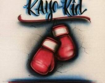 Boxing shirt, airbrush t shirt, birthday shirt, boxing birthday, boxing gloves, boxing party, boxing baby shower, boxing onesie,