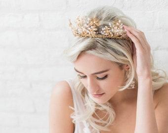 Bridal Crown, Gold Bridal Head Piece, Gold Leaf Bridal Hairpiece, Wedding Headpiece, Headband