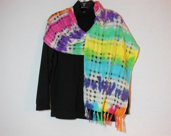 Scarf, handwoven cotton scarves with fringe, OOAK