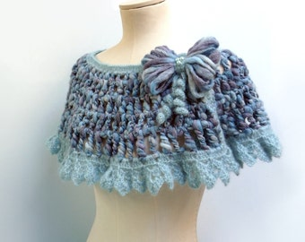 Crochet Capelet / Wrap / Scarf - Light Blue - Romantic Lace Shawl with Yarn Bow - ANGEL