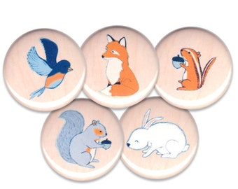 Woodland Critter Pin Set of 5 One Inch Pinback Buttons